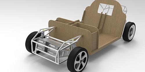 elektrische auto gemaakt van gerecycled plastic